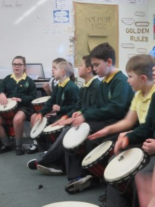 Year 4 Drumming & Visit to Greenbank Plus Assemly with an author 011